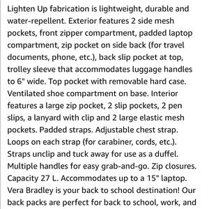 Vera Bradley Bags - Vera Bradley Lighten Up Journey Backpack